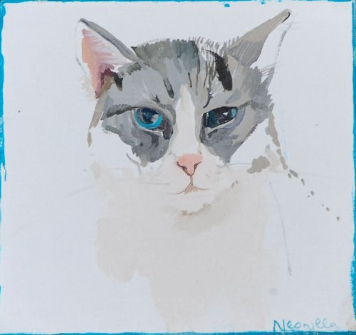 Neonilla Medvedeva - Cat (6 from 10) - 2009 - oil on canvas - 17 x 18