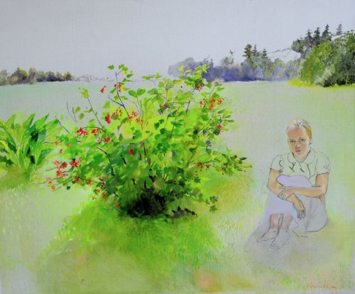 Neonilla Medvedeva - In the Garden. Malpils - 2010 - oil on canvas - 61 x 71