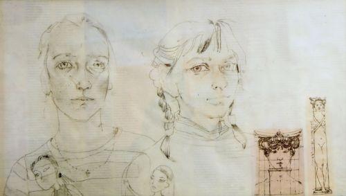 Neonilla Medvedeva - Girls - paper, charcoal - 35x60 - 2008