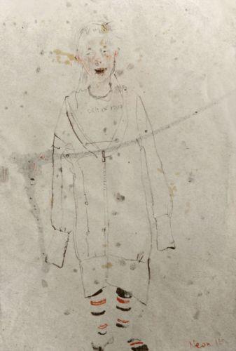 Neonilla Medvedeva - Little singer - paper, charcoal - A4  21 x 29,8 - 2008