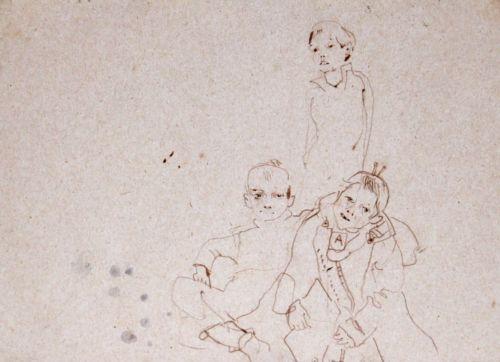 Neonilla Medvedeva - Children  - paper, charcoal - A4  21 x 29,11 - 2008