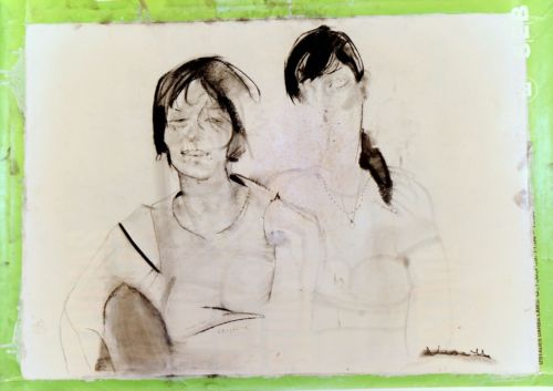 Neonilla Medvedeva - Friends (Kristine & Ingrida) - paper, charcoal - 60 x 84 - 2008