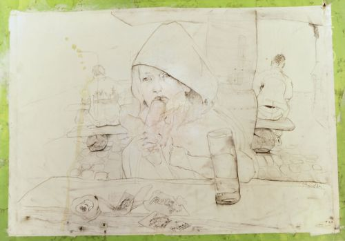 Neonilla Medvedeva - Strawberry ice cream  - paper, charcoal - 60 x 84 - 2008