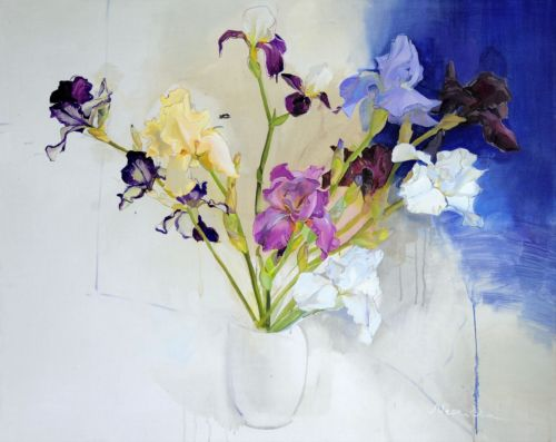 Neonilla Medvedeva - Blue FLOWERS - 2010 - oil on canvas - 79 x 99