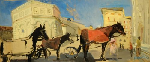 Neonilla Medvedeva - Black horse (Florence) - oil on canvas - 25 x 60 - 2008