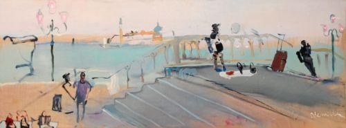 Neonilla Medvedeva - Bags for Sale (Venice) - oil on canvas - 30 x 80 - 2008