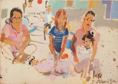 Neonilla Medvedeva - Children in Burano - oil on canvas - 25x30 - 2008 - sold