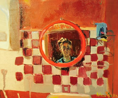 Neonilla Medvedeva - Self-portrait in bathroom - oil on canvas - 25 x 30 - 2008